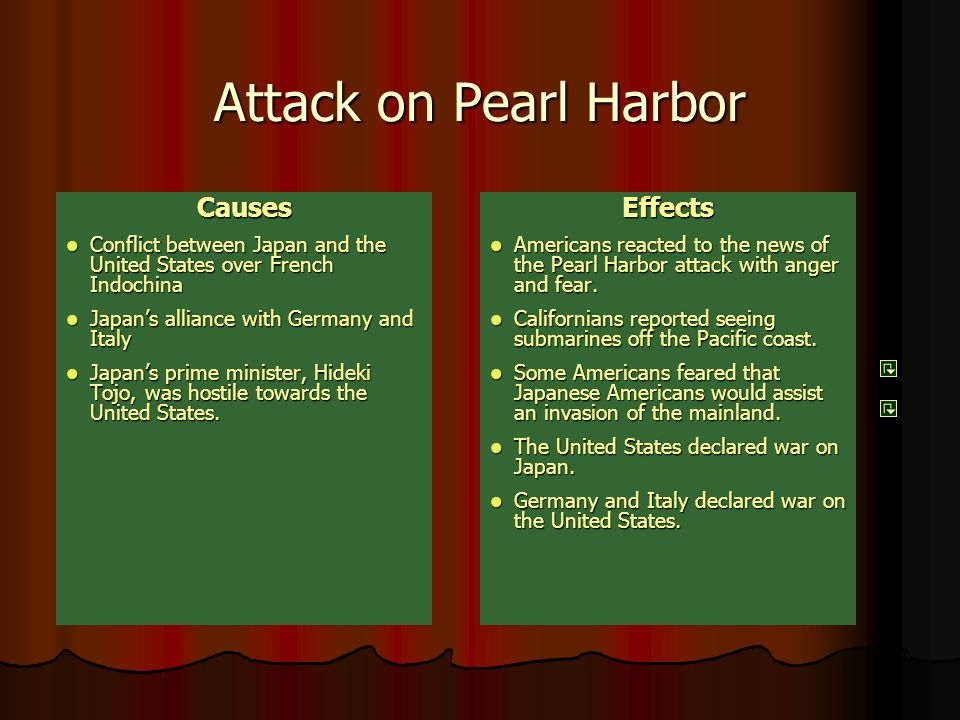 the cause and the effects of the attack of pearl harbor What were the after effects of pearl harbor we all know what happened at pearl harbor,  there were so many effects after the attack on pearl harbor,.