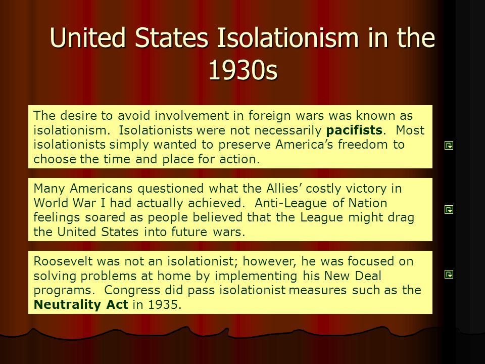 isolationism and the involvement of the united states in the world war i Standard 2c: the student understands the impact at home and abroad of the united states involvement in world war i analyze the impact of public opinion and government policies on constitutional interpretation and civil liberties.