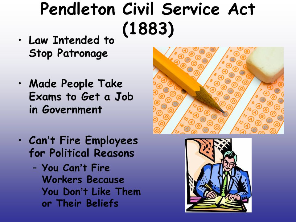 """an introduction to the pendleton civil service act The pendleton act provided a way to """"reduce the costs of patronage by improving the quality of federal  pendleton civil service act  1' introduction terms of."""