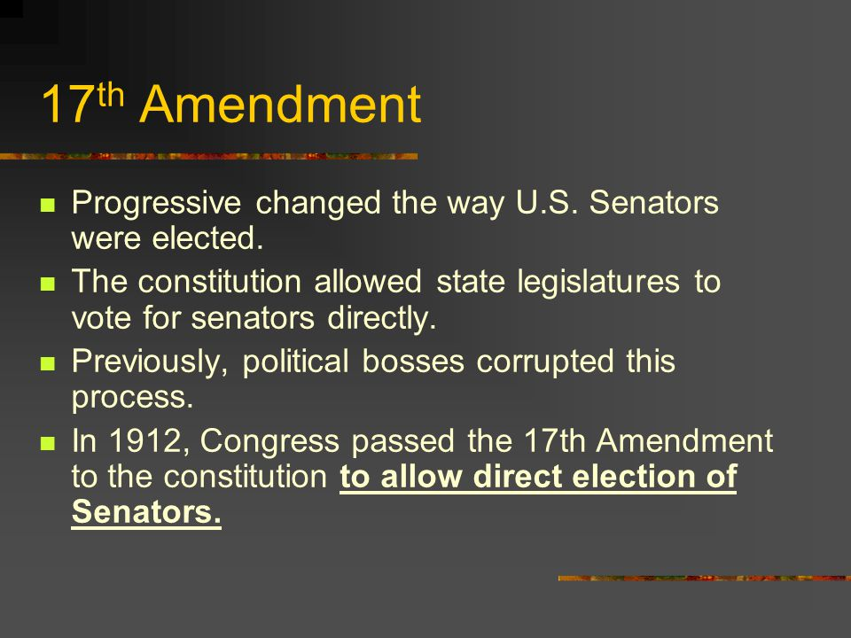 th Amendment to the U S  Constitution  Direct Election of U S