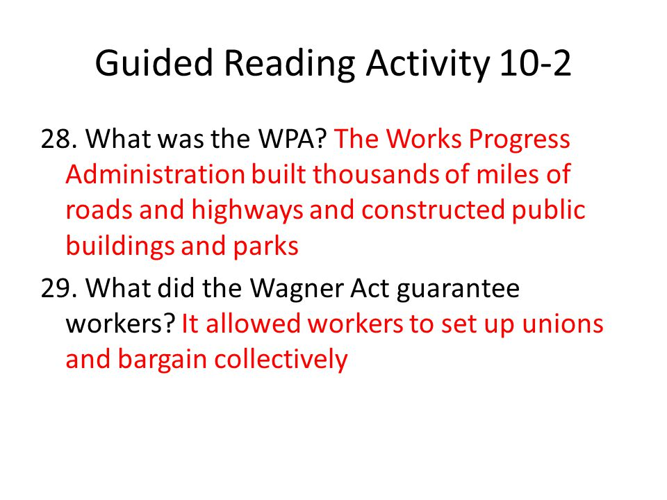 Guided Reading Activity 10-2