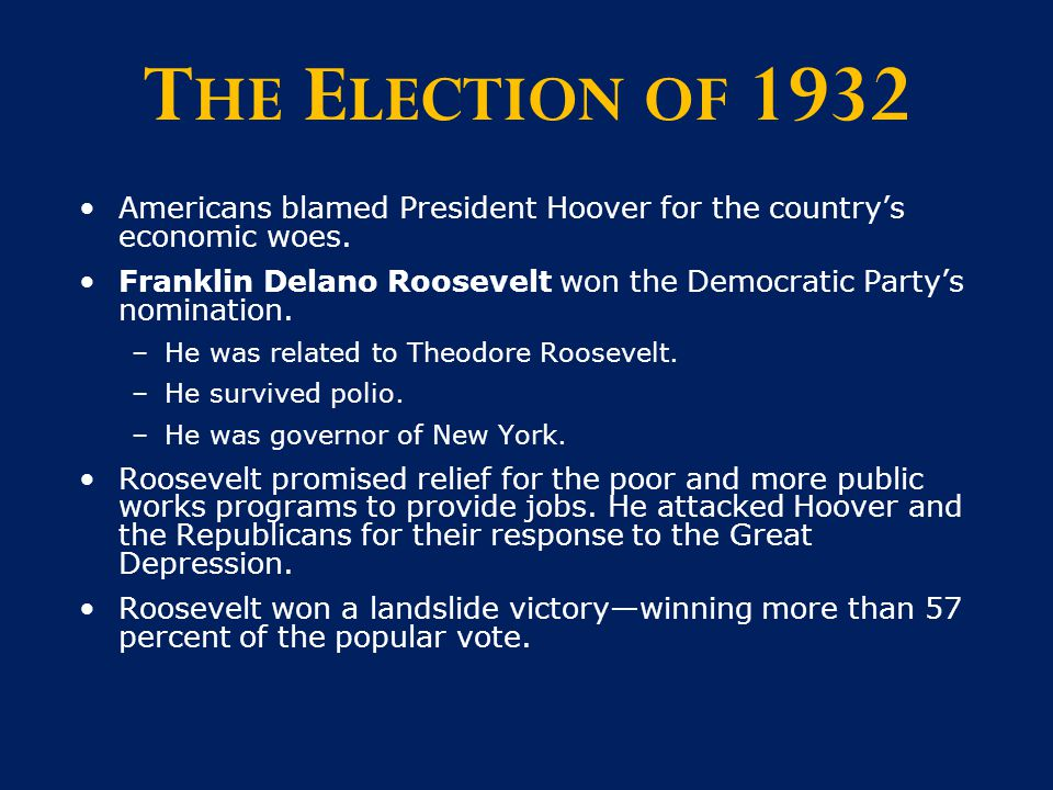the importance of the 1932 elections for the future of america America's 38th president he was a gridiron star who won college football national championships in 1932 and but ford insisted that the nation's future.