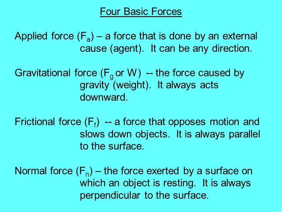 Four Basic Forces Applied force (Fa) – a force that is done by an external cause (agent). It can be any direction.