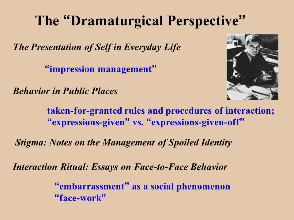 "dramaturgical approach Abstract by means of the dramaturgical model we freshly illuminate social behavior as role-like ""performances"" in which persons manage the."