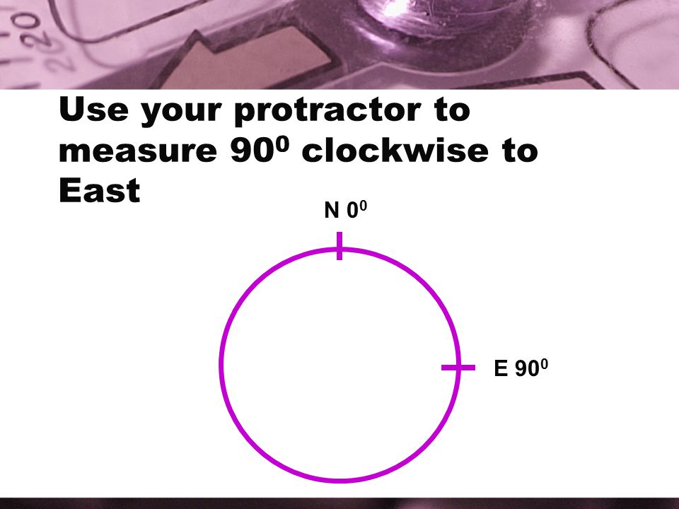 Use your protractor to measure 900 clockwise to East