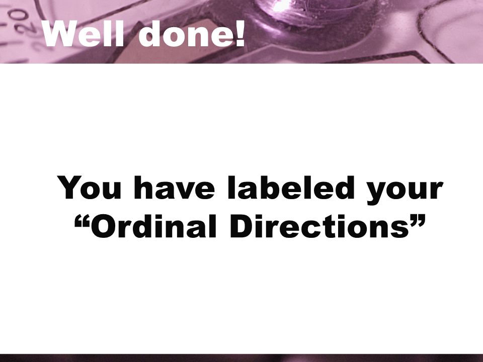 You have labeled your Ordinal Directions