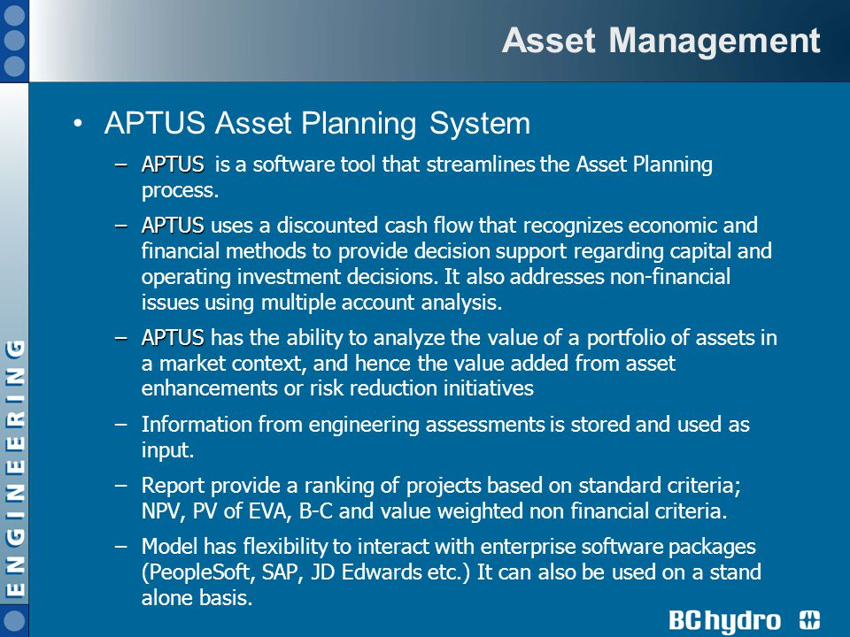 Asset Management APTUS Asset Planning System