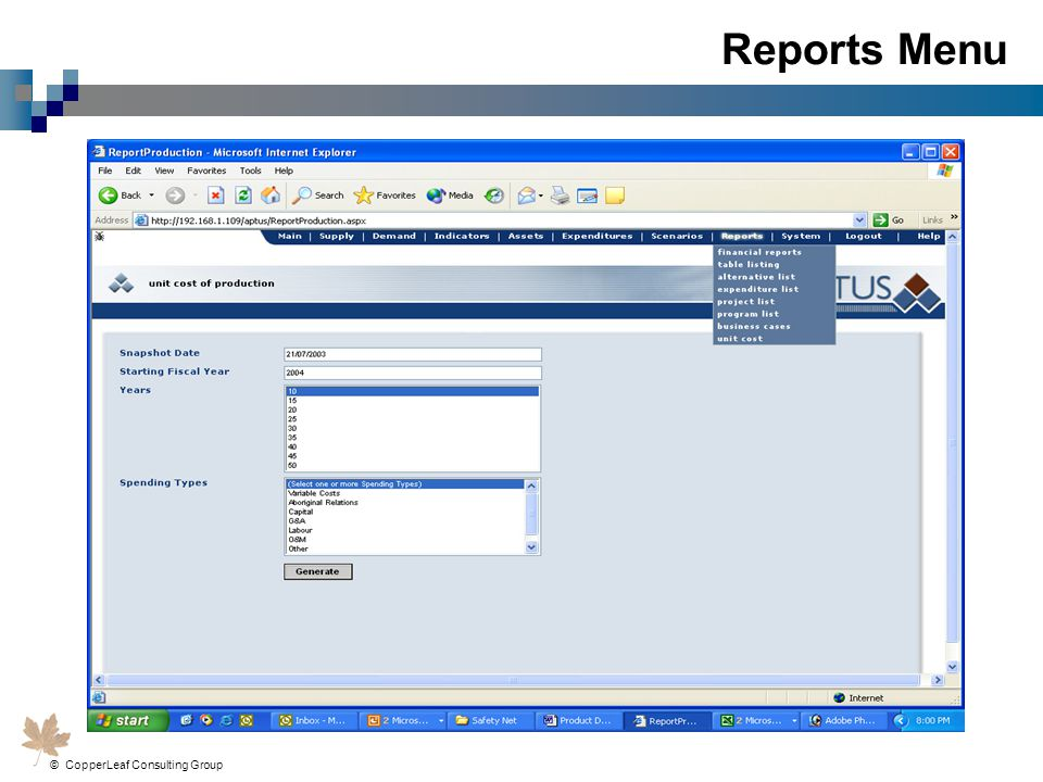 Reports Menu © CopperLeaf Consulting Group Inc.
