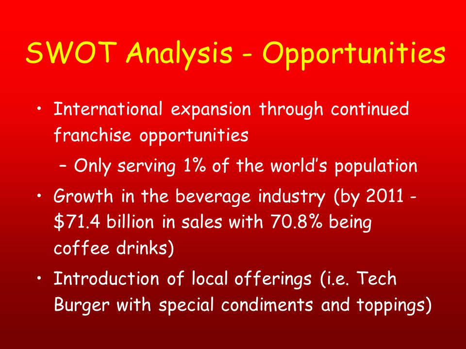 swot analysis of mcdonald franchise Looking for newest subway swot analysis for 2013 doesn't own any restaurants itself so it experiences less risk and can focus its efforts on marketing and growing the franchise mcdonald's swot nestl swot pepsico swot starbucks swot walmart swot popular topics.