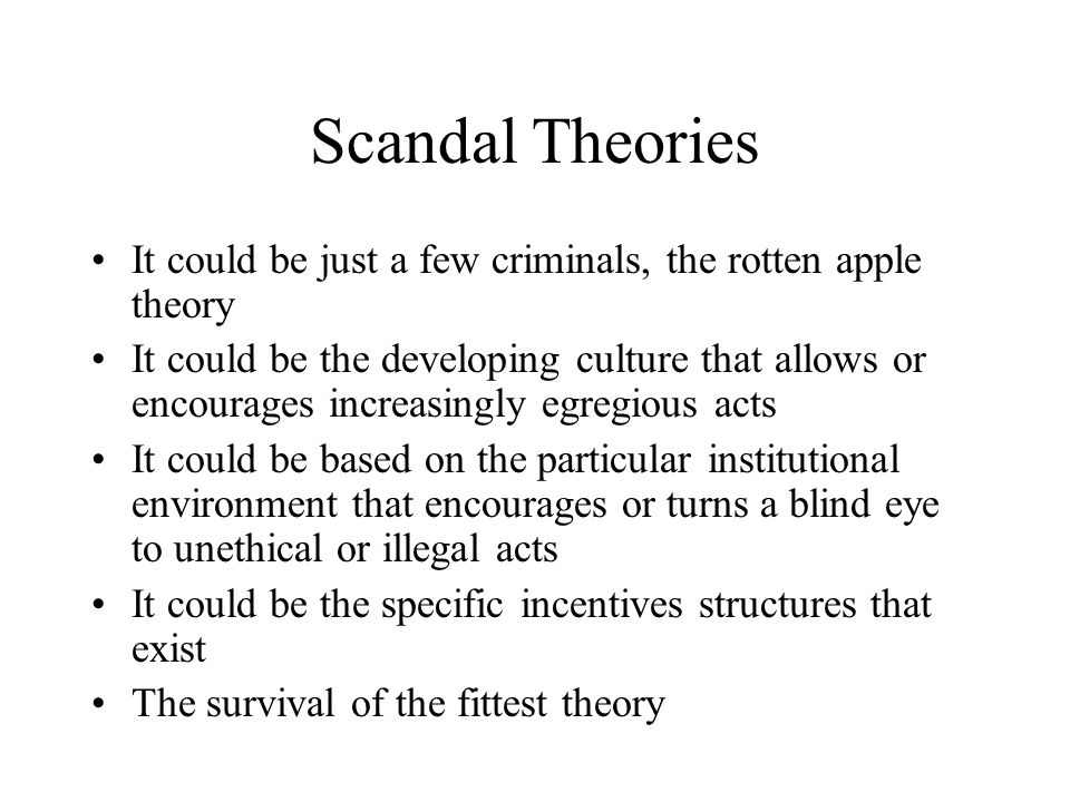 the rotten apple theory in society Home misconduct / curruption deviance and corruption deviance and corruption corrections agencies tend to use the rotten apple theory or some variation of the rogue officer a functional explanation is that corruption is inherent in society's attempt to enforce unenforceable laws.
