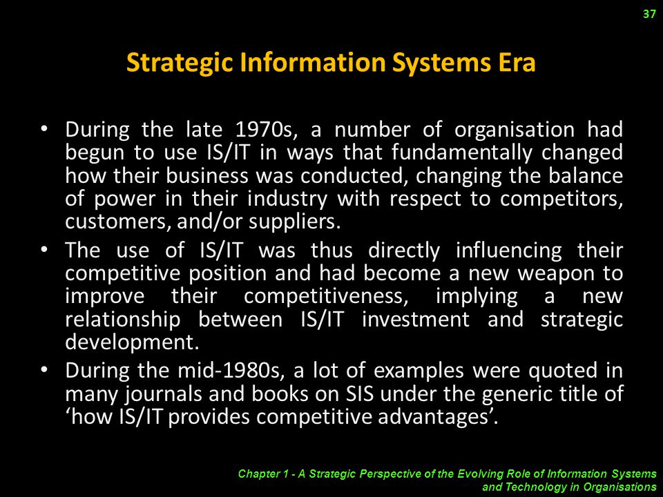 strategic information systems planning International journal of computer applications (0975 – 8887) volume 144 – no7, june 2016 1 an overview of strategic information systems planning.