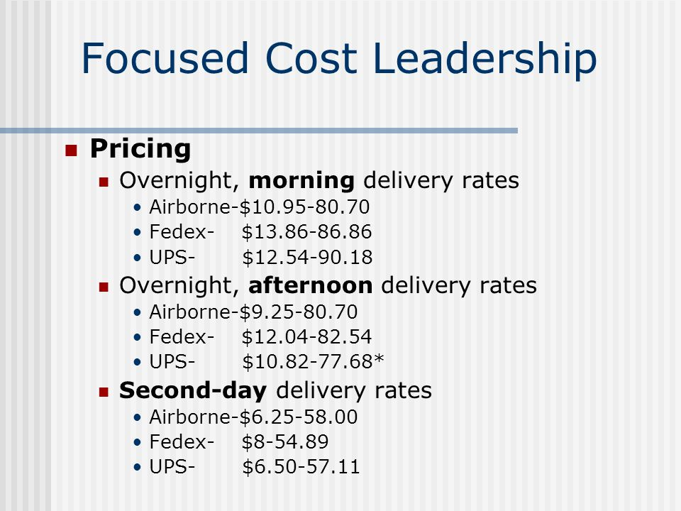 focused cost leadership Cost leadership strategy and differentiation strategy share one important characteristic: both are used to attract customers in general the policies to appeal to.