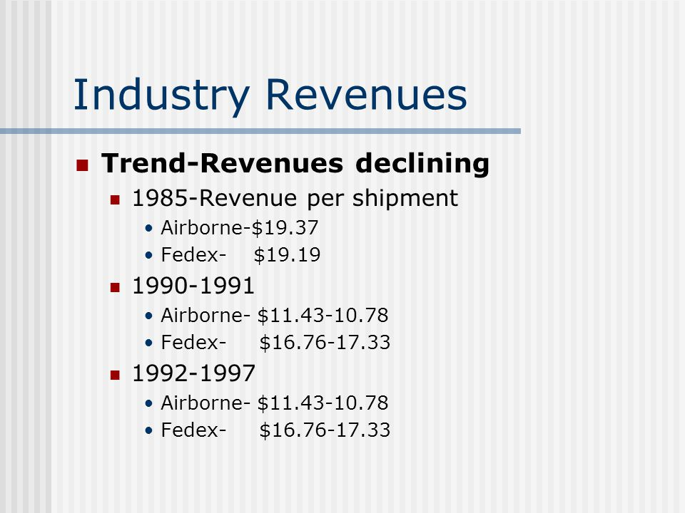 airborne express cost per unit Airborne express group presentation by: the braves spring 2008  7 industry  revenues trend-revenues declining 1985-revenue per shipment  pricing  overnight, morning delivery rates airborne-$ fedex- $ ups $ overnight,  afternoon delivery rates airborne-$ fedex- $ ups  unit 5 strategy discussion  outline.