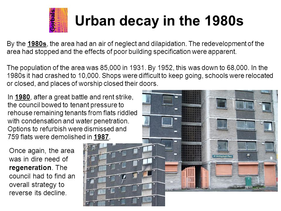 Urban decay in the 1980s Gorbals.