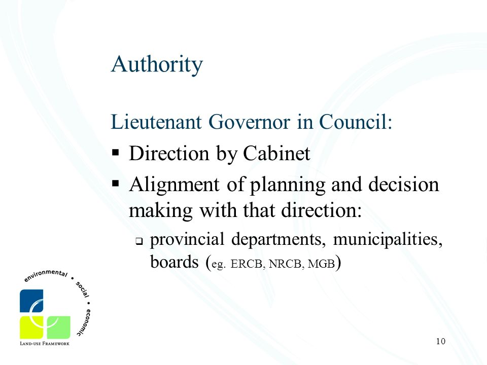 Authority Lieutenant Governor in Council: Direction by Cabinet