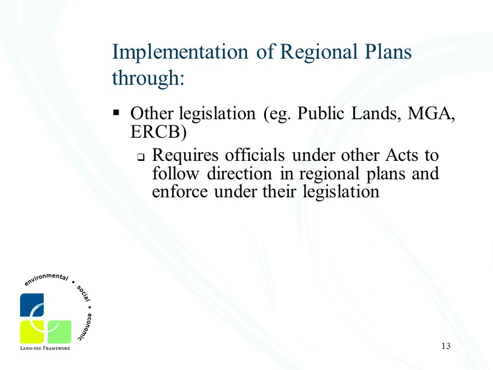 Implementation of Regional Plans through: