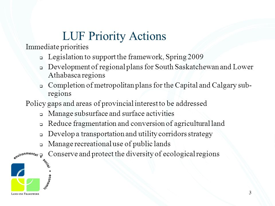 LUF Priority Actions Immediate priorities