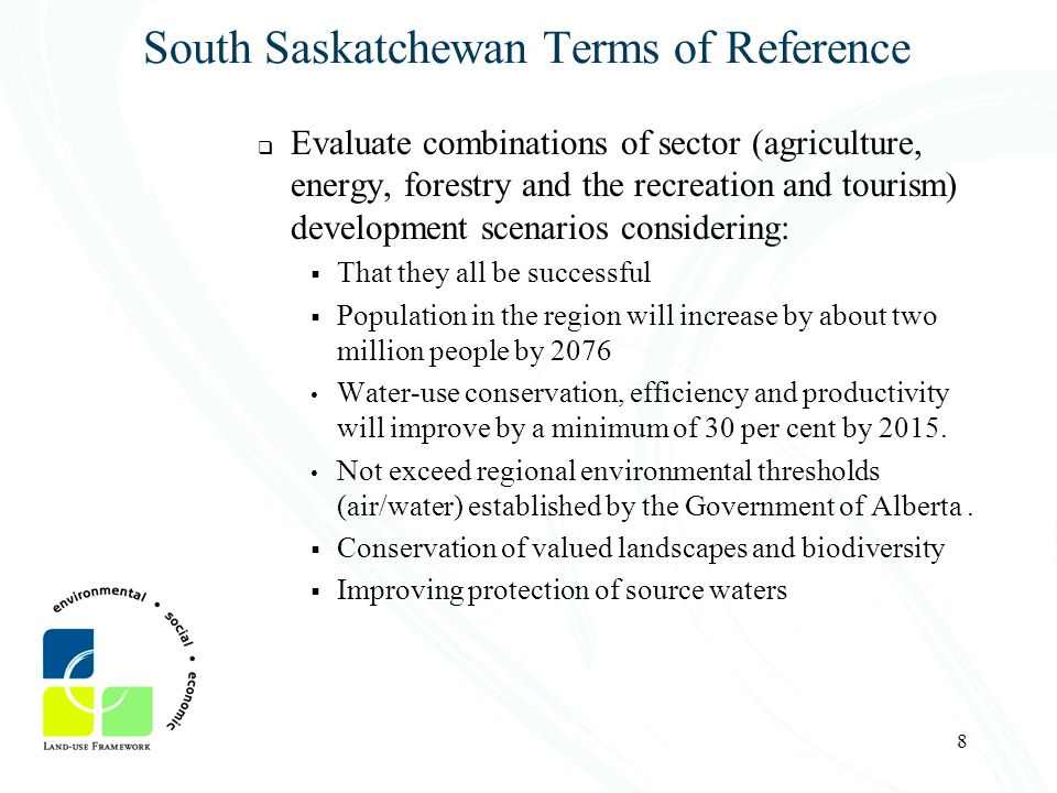 South Saskatchewan Terms of Reference