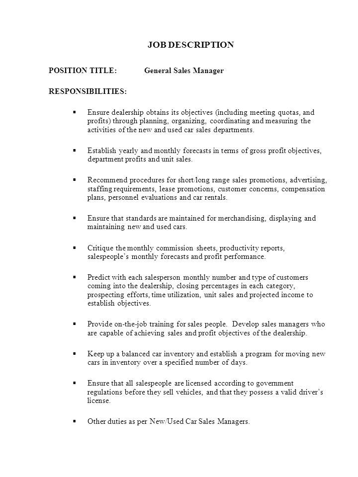 car salesperson job description template essay it manager resume sales car sales manager job description