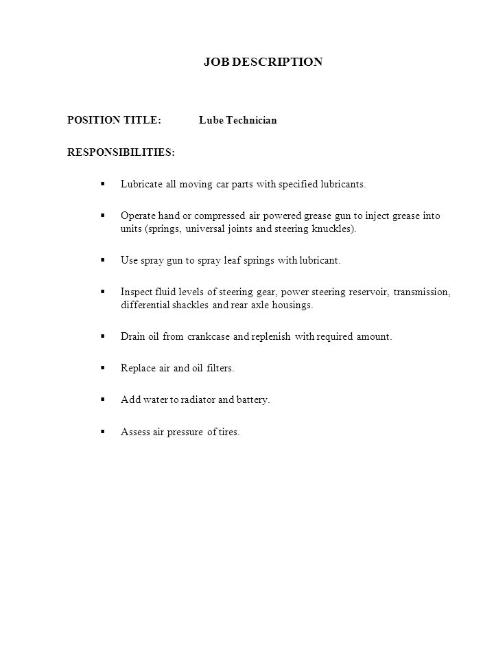 42 job description position title lube technician responsibilities image lube tech job description - Lube Technician Job Description