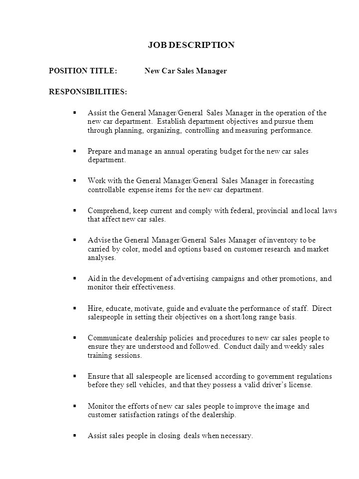 44 JOB DESCRIPTION POSITION TITLE: New Car Sales Manager  Car Sales Job Description
