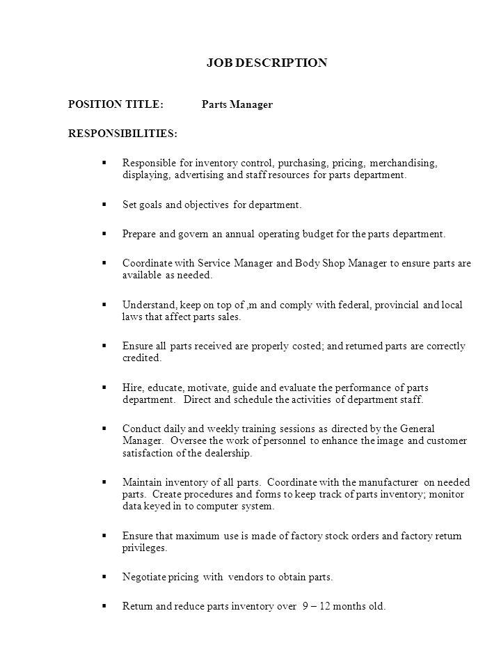 job description afternoon inventory control coordinator - Inventory Control Description