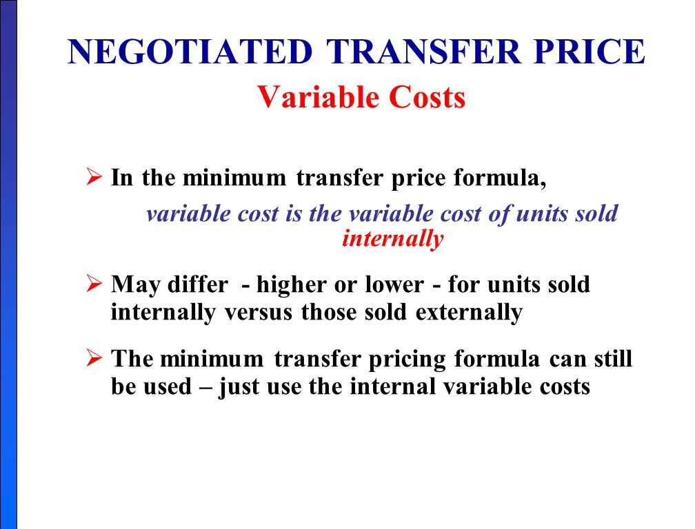 costs and transfer price Definition of transfer cost: total opportunity cost of moving an item from one place  to another, including transport costs, loading and unloading costs, and.