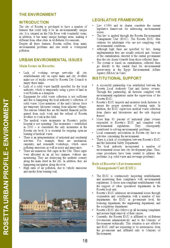ROSETTA URBAN PROFILE - ENVIRONMENT