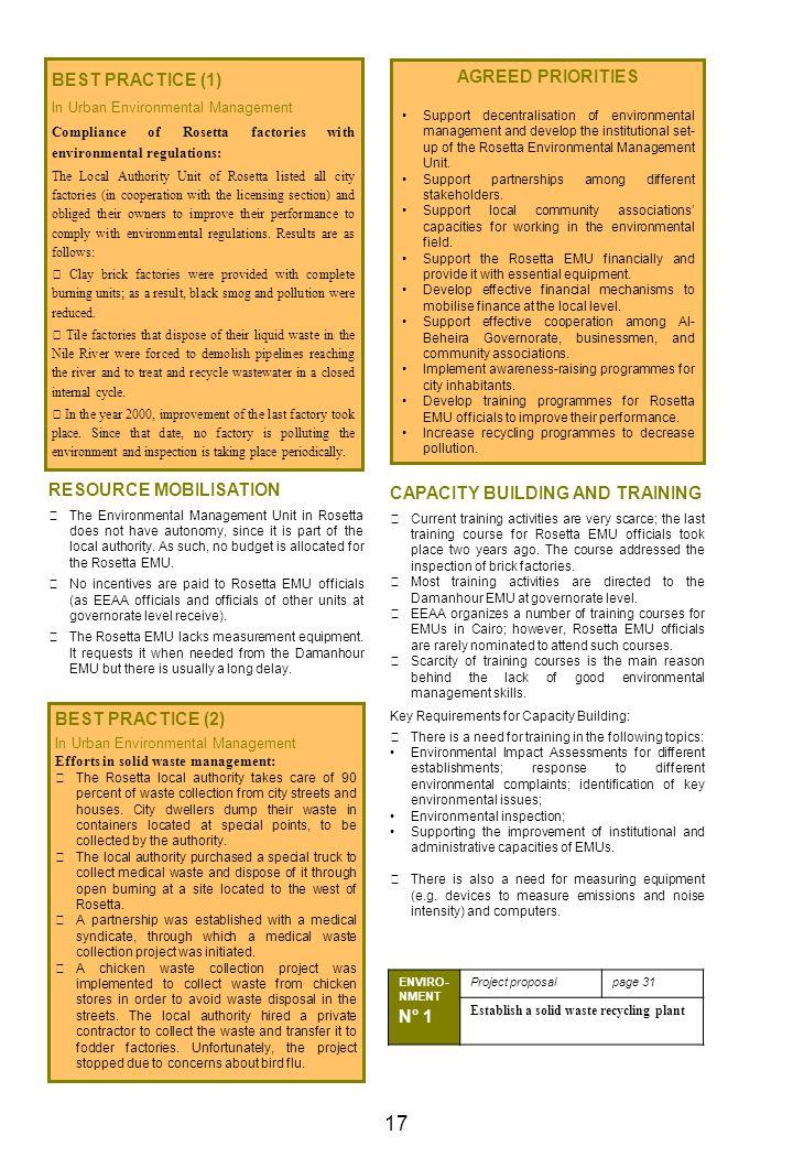 17 BEST PRACTICE (1) AGREED PRIORITIES RESOURCE MOBILISATION