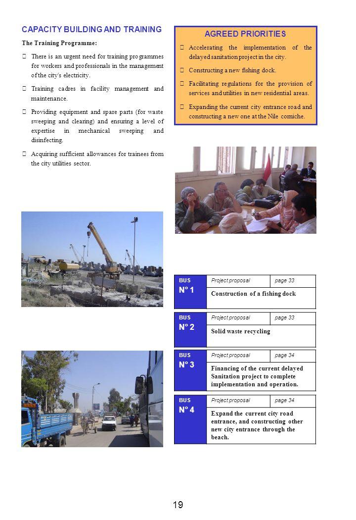 19 CAPACITY BUILDING AND TRAINING AGREED PRIORITIES N° 1 N° 2 N° 3