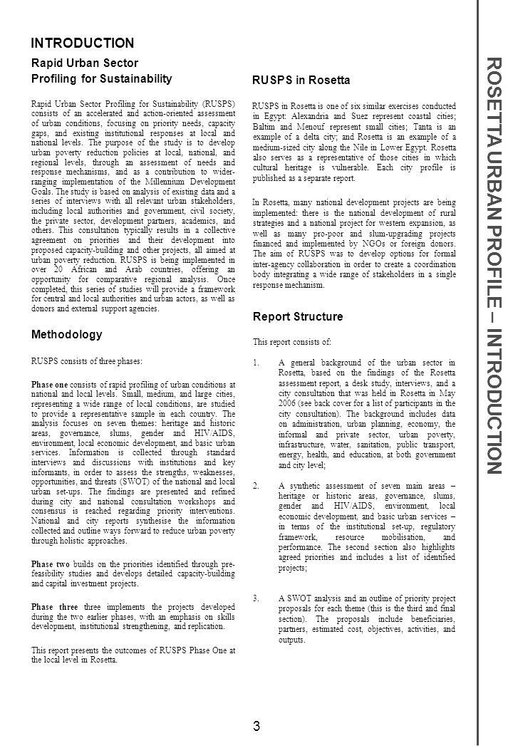 ROSETTA URBAN PROFILE – INTRODUCTION