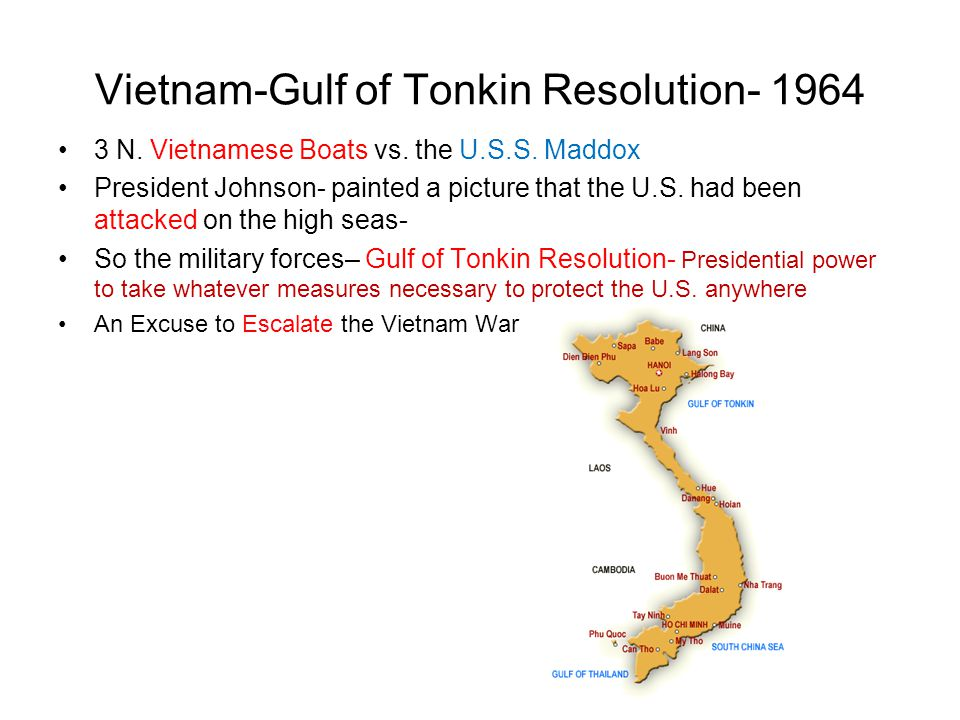 the gulf of tonkin resolution Siff, ezra y why the senate slept: the gulf of tonkin resolution and the  beginning of america's vietnam war westport, ct: praeger, 1999 the united  states.