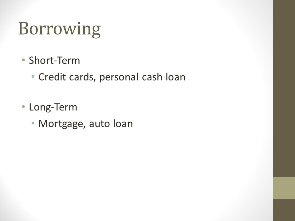 Borrowing Short-Term Credit cards, personal cash loan Long-Term