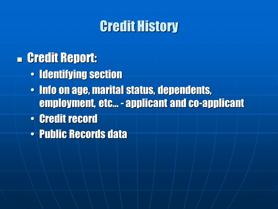 Credit History Credit Report: Identifying section