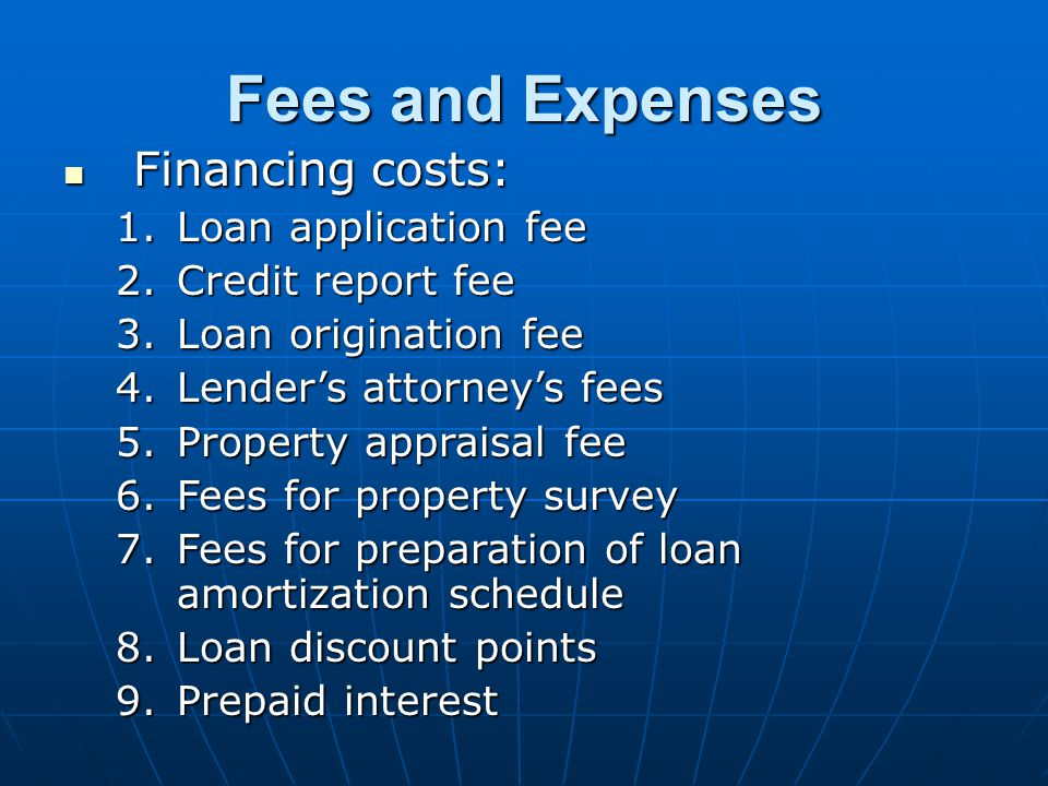 Fees and Expenses Financing costs: Loan application fee