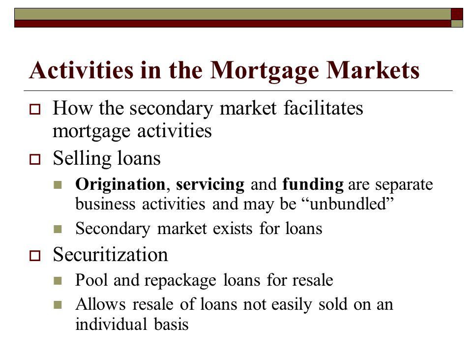 Activities in the Mortgage Markets