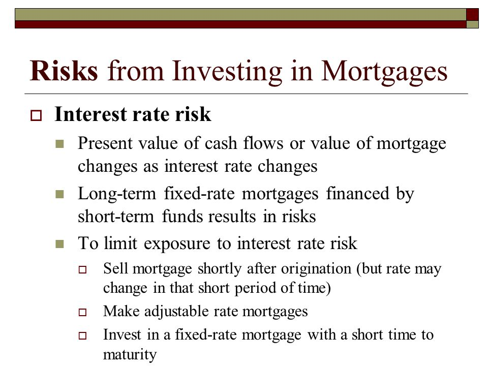 Risks from Investing in Mortgages