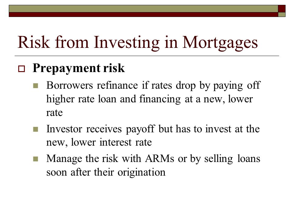 Risk from Investing in Mortgages