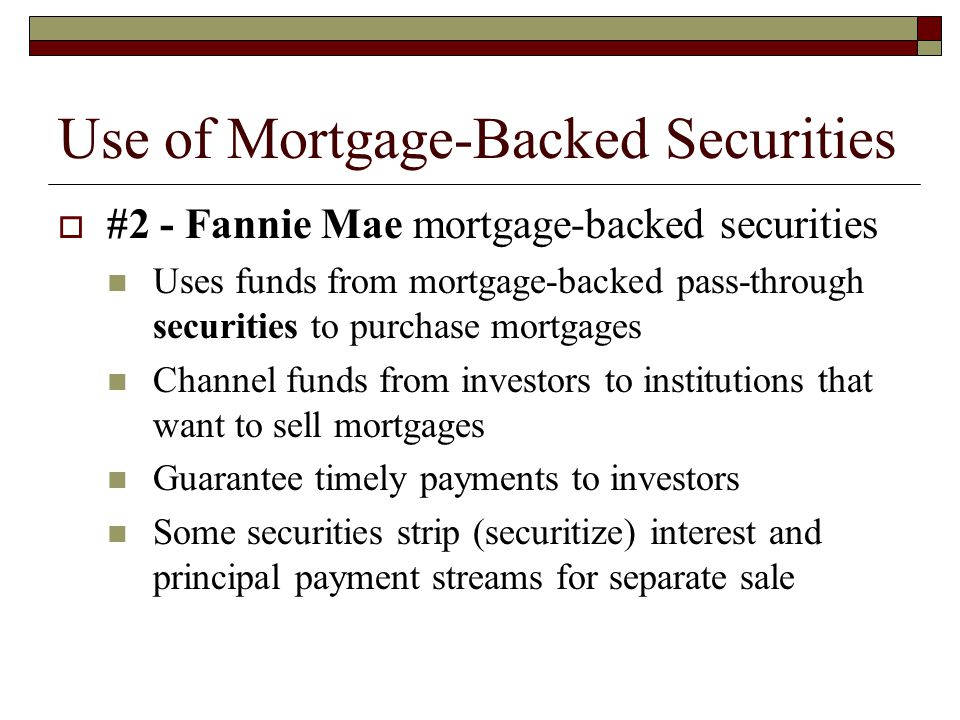 Use of Mortgage-Backed Securities