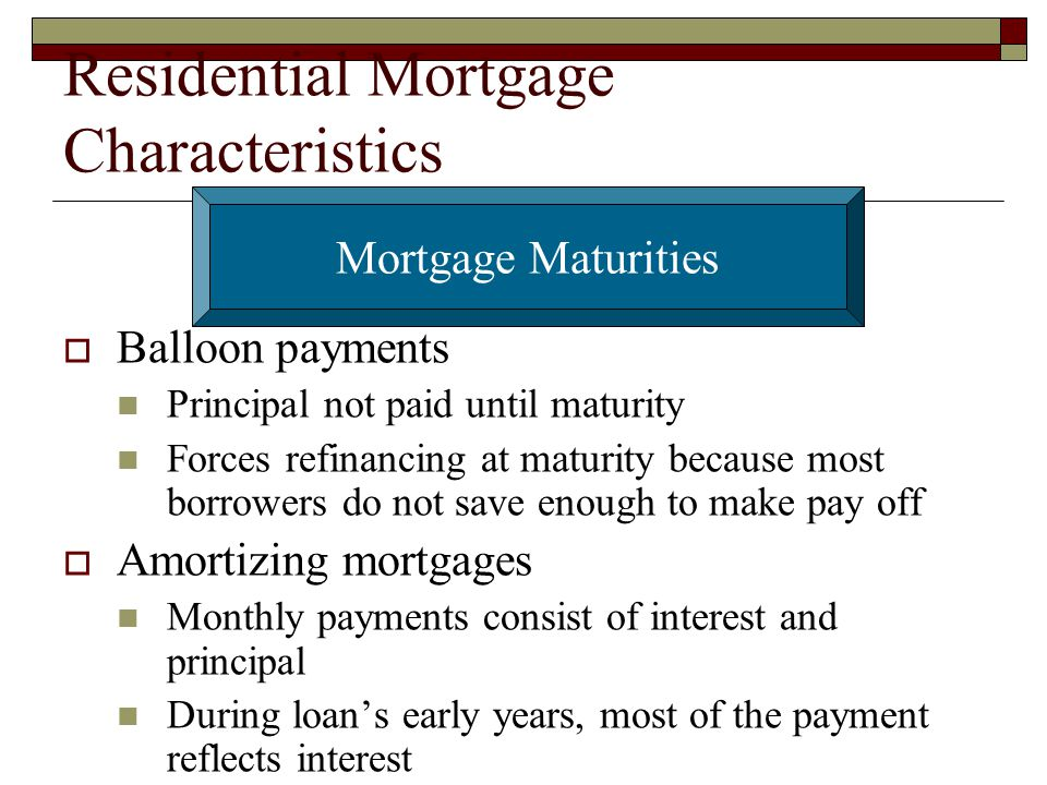 Residential Mortgage Characteristics
