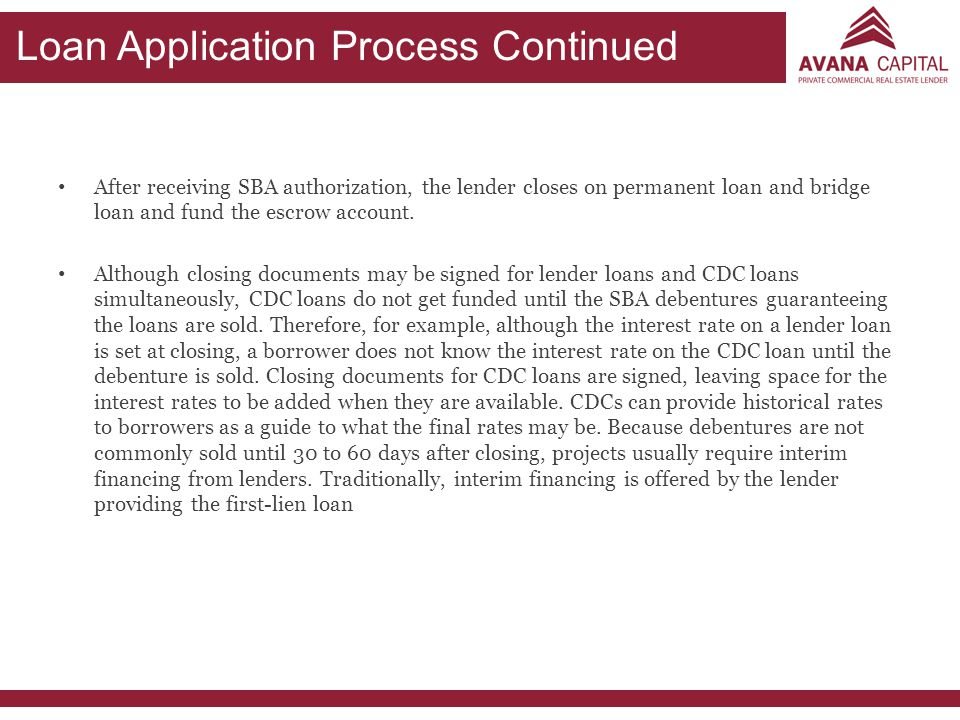 Loan Application Process Continued