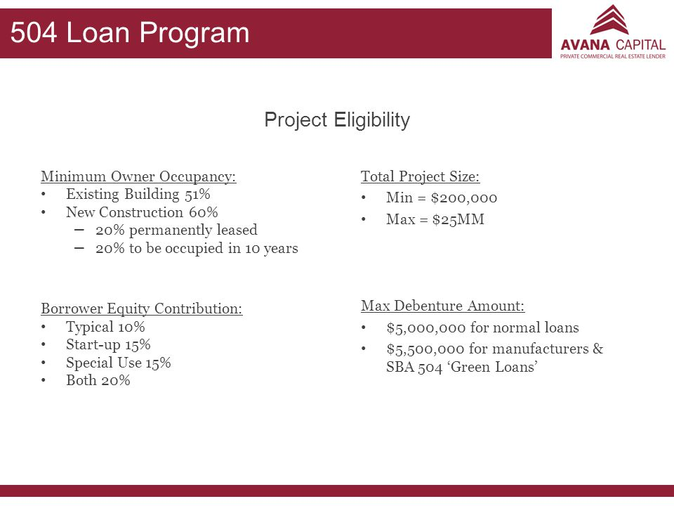 504 Loan Program Project Eligibility Minimum Owner Occupancy: