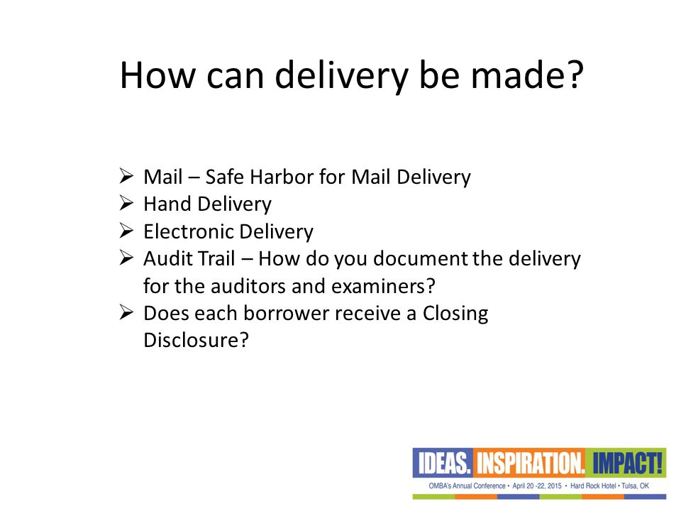 How can delivery be made