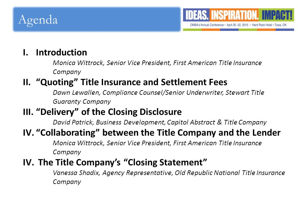 Agenda Introduction Quoting Title Insurance and Settlement Fees