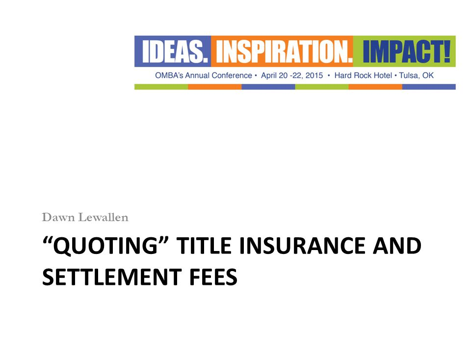 Quoting Title Insurance and Settlement Fees