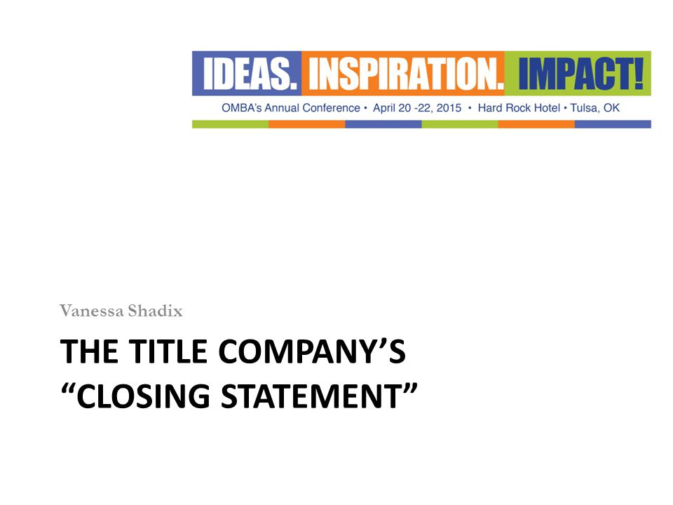 The Title company's Closing statement