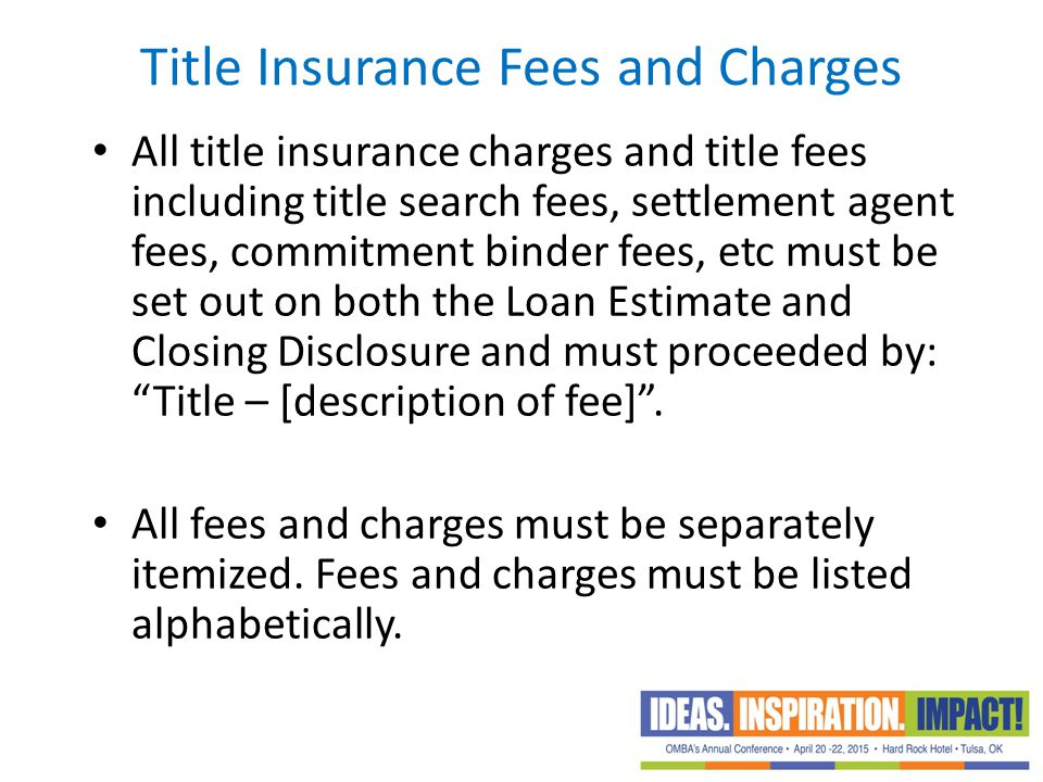 Title Insurance Fees and Charges
