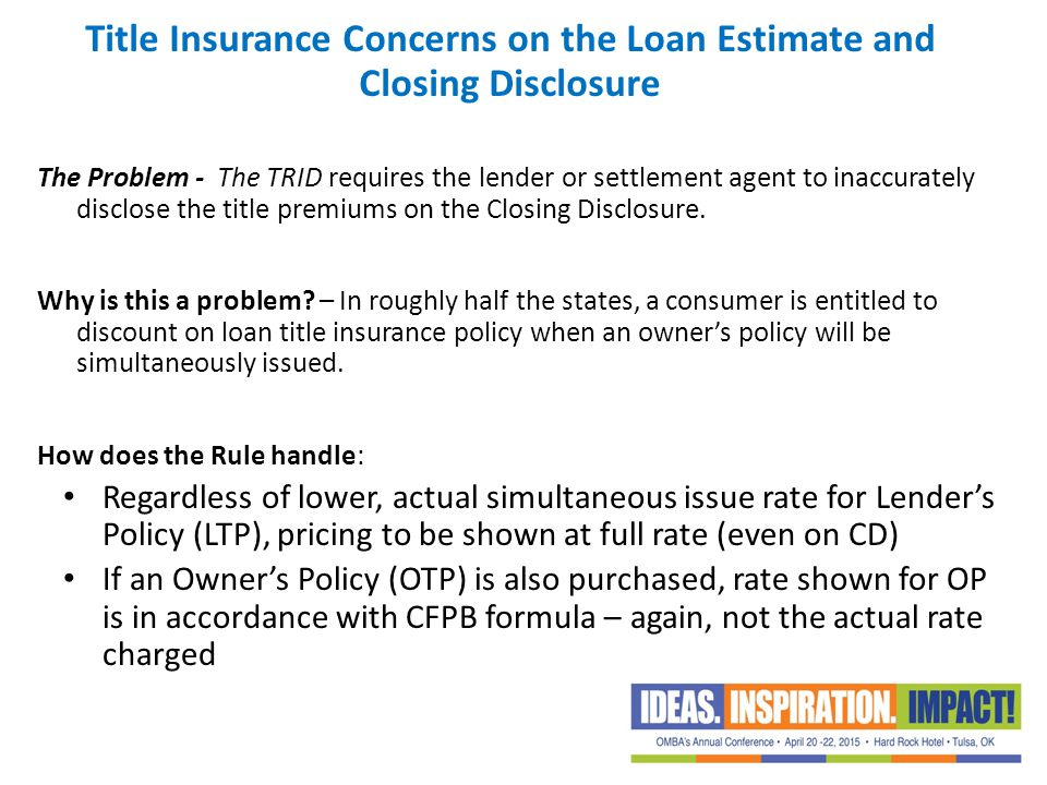 Title Insurance Concerns on the Loan Estimate and Closing Disclosure