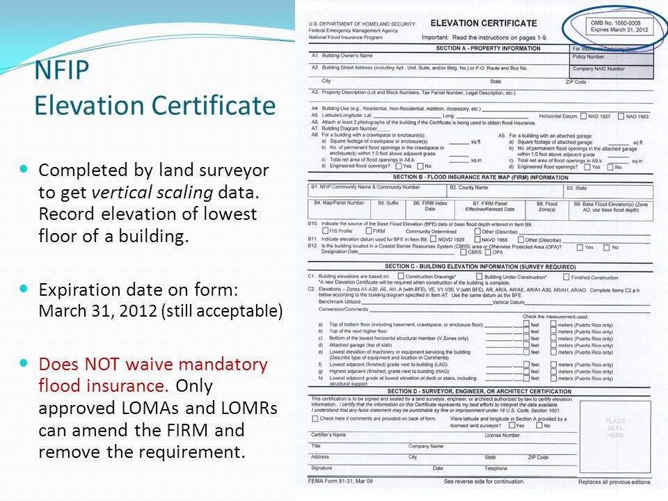 Lowest Floor Elevation Fema Form : Maine association of mortgage professionals ppt download