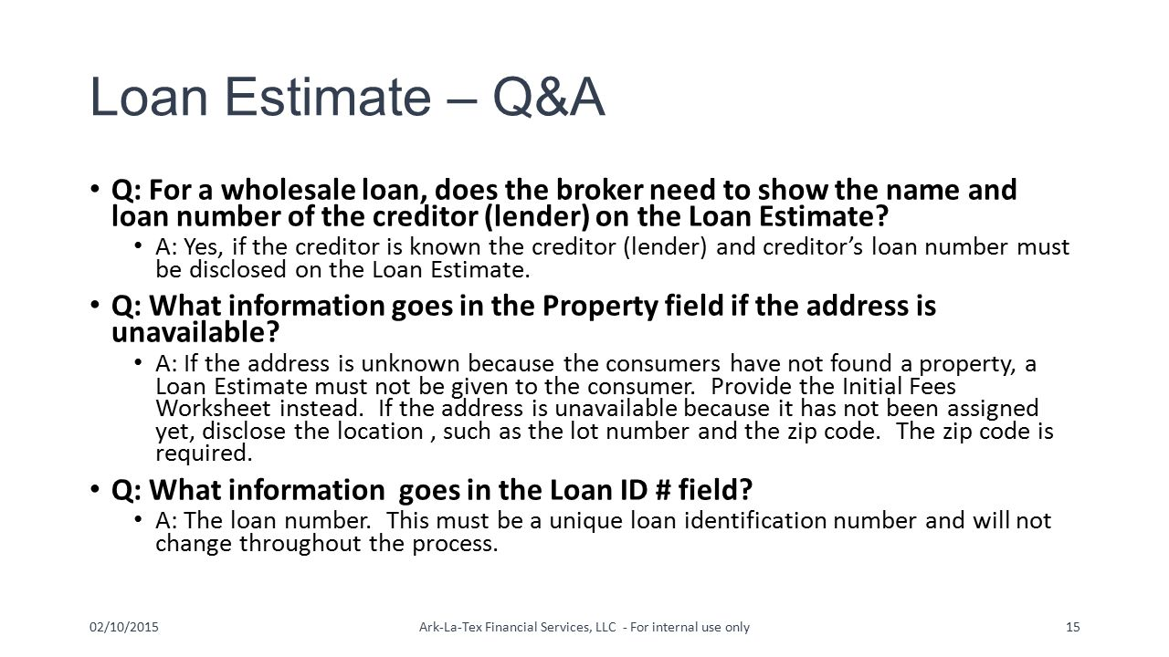 Tila respa integrated disclosures trid ppt video for Loan for land only